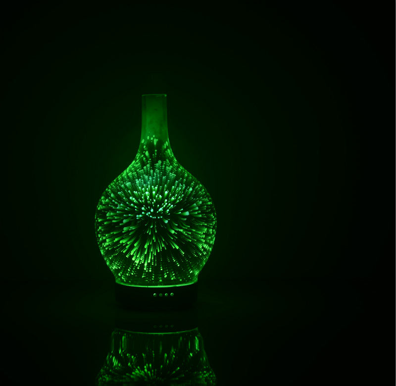 3D Light Glass Vase Diffuser Aromatherapy Auto Shut-off - NaturaCurandera.com