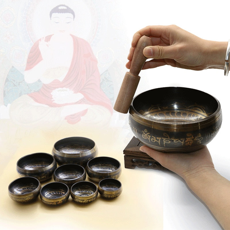Tibetan Singing Bowl - Antique Design  Promotes Peace, Chakra Healing, and Mindfulness - NaturaCurandera.com