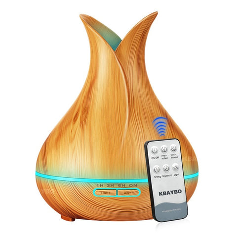 KBAYBO 400ml Aroma Oil Diffuser Ultrasonic Air Humidifier 7 Color Changing LED Lights - NaturaCurandera.com