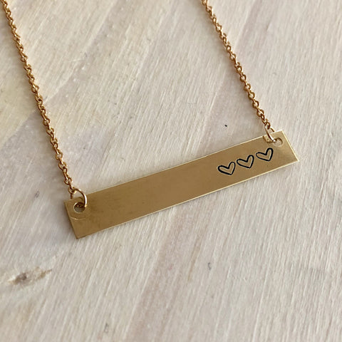 hand-stamped 3 hearts bar necklace