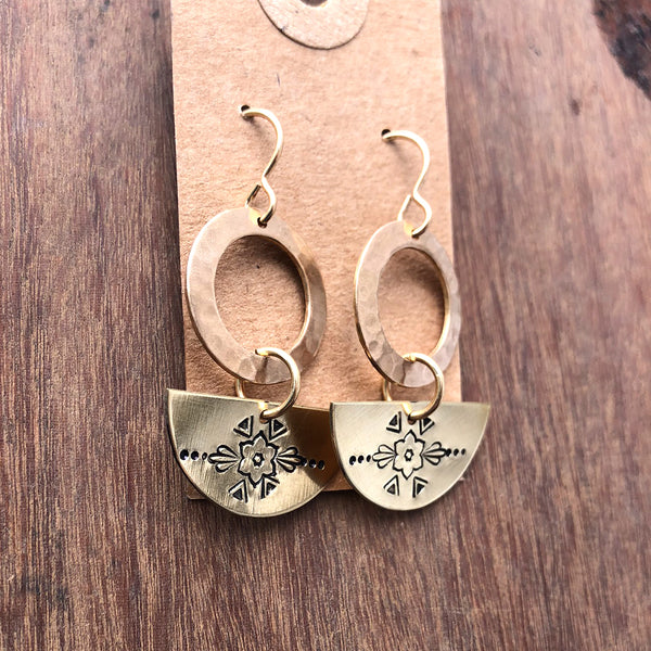 mandala half moon earrings