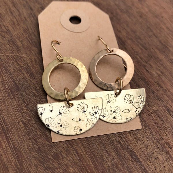 floral half moon earrings