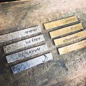 Silver & gold bars with hammered finish