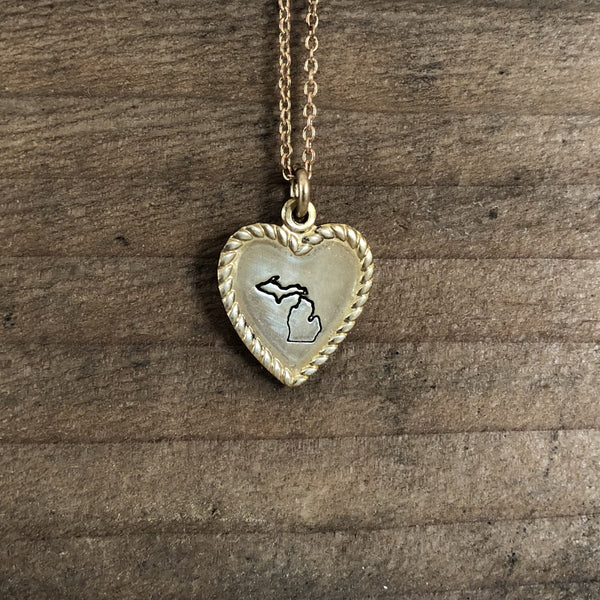 dainty gold Michigan heart