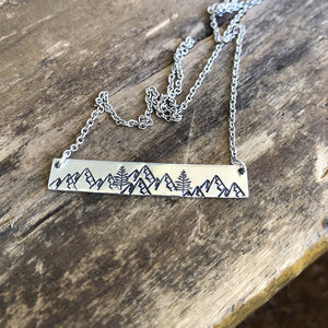 mountain range hand-stamped bar necklace