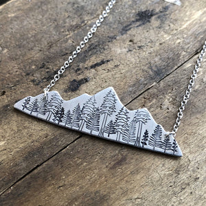 stamped mountain range necklace