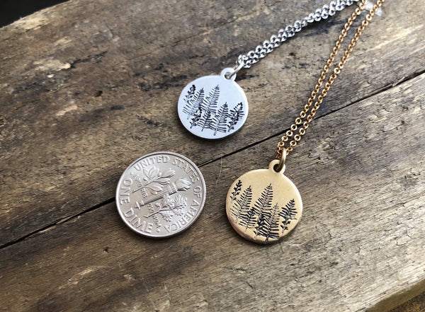 stamped tiny forest pendant