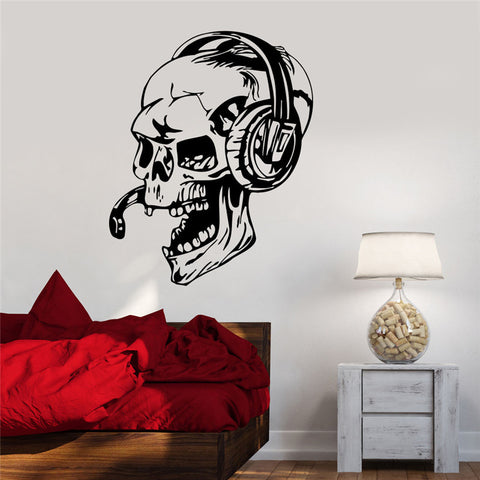 Vinyl Wall Decal Gamer Skull in Headphones
