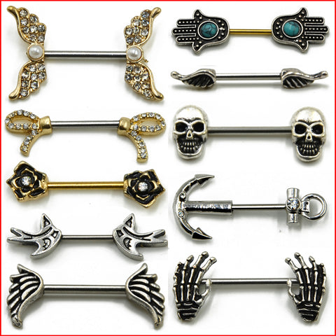 Barbell Piercing Skull Anchor Wing Hand Nipple Shield Ring 316L Surgical Steel 1 Pair