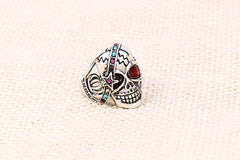 Red Gem Big Punk Biker Skull Ring For Women