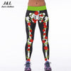 Image of Skull Girl Birds 3D Print Fitness Leggings