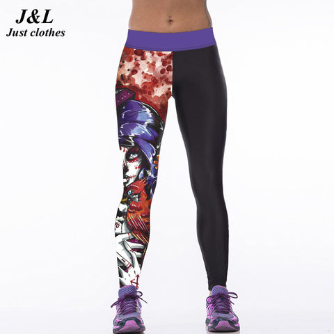 Skull Girl Birds 3D Print Fitness Leggings