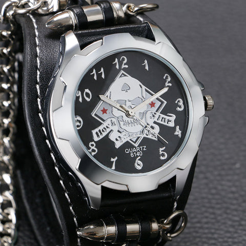 Punk Trendy Cool Analog Stylish Chain Skull Watch
