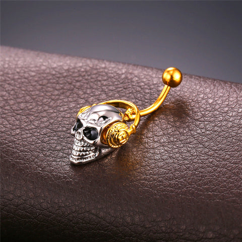 Skeleton Skull With Gold Walkman Belly Button Rings for Women