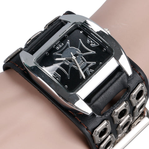 Gothic Style Hollow Leather Strap Skull Quartz Watches