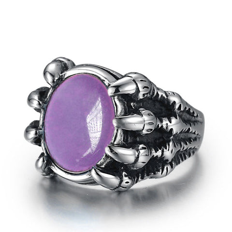 Colored Stone Dragon Claw Stainless Steel Rings