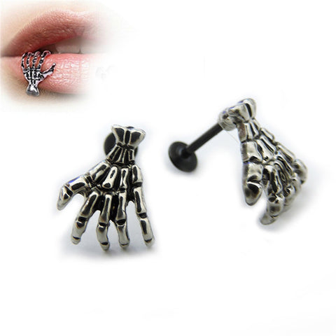 Devil Skeleton Hand Lip Piercing