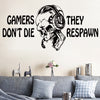 Image of Vinyl Wall Decal Gamer Skull in Headphones