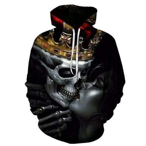 Kiss of Dead Skull King 3D Hoodies