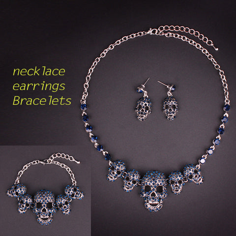 Rhinestones Skull Necklace Earrings and Bracelets Sets