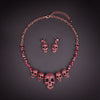 Image of Rhinestones Skull Necklace Earrings and Bracelets Sets