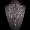 Image of Rhinestones Skull Necklace Earrings Sets