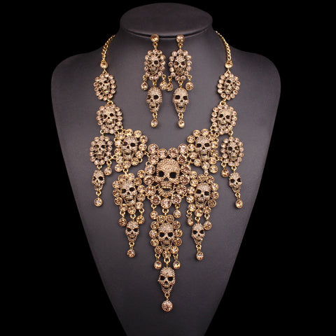 Rhinestones Skull Necklace Earrings Sets