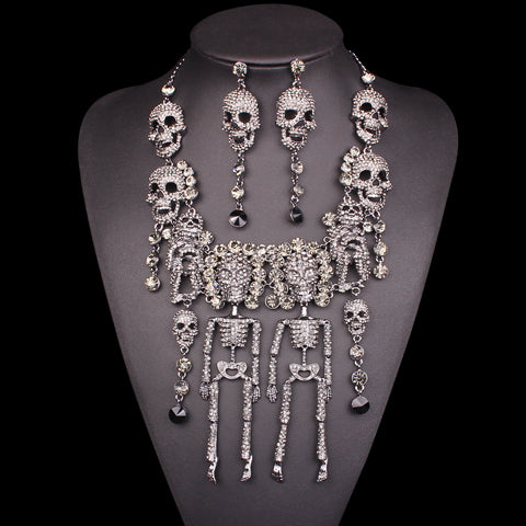 Rhinestones Vintage Skeleton Necklace Earrings Sets