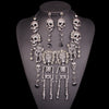 Image of Rhinestones Vintage Skeleton Necklace Earrings Sets