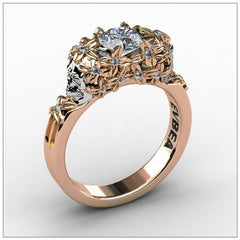 Elegant Gold Diamond Skull Ring for Women