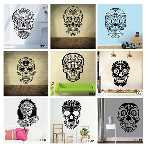 Mexican Sugar Skull Vinyl Wall Decal Sticker