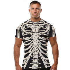 3D Skeleton Short Sleeves Shirt Men