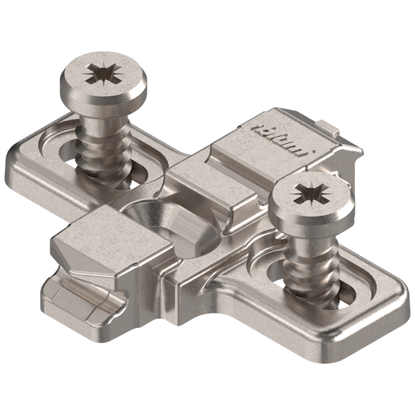 0 mm  European Mounting Plate with Pre-mounted 5 mm Euro Screws - Blum