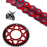 Honda CB125 R Chain and Sprocket Kit Red RK Racing Red ZF Rear Sprocket
