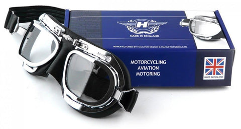 Halcyon MK9 Deluxe Classic Goggles Chrome and Black Frame Clear Lens