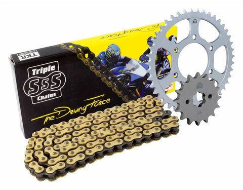 Triple S 525 O-Ring Chain and Sprocket Kit Gold BMW F800 R Set 2009-12