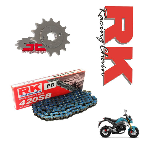 Honda MSX125 Grom RK Racing Blue Chain and Sprocket Kit