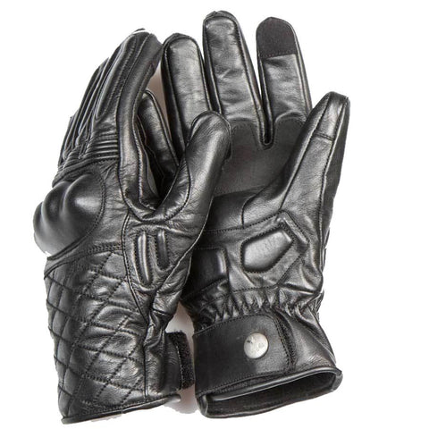 By City Cafe II Leather Motorcycle Gloves Black Cruiser Armoured Waterproof