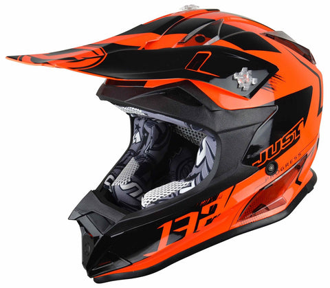 Just1 J32 Rave Motocross Helmet Neon Orange Gold ACU