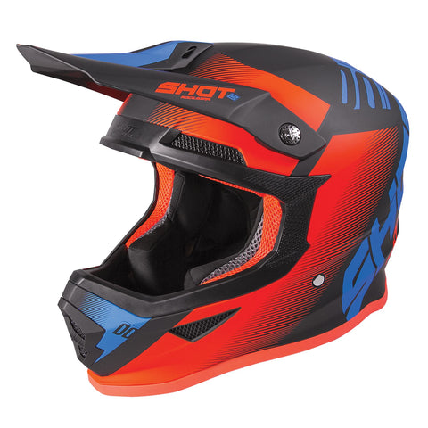 Shot Furious 2020 MX Helmet Kids Trust Blue Neon Orange Gloss ACU Approvato