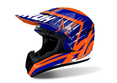 Airoh Switch Startruck Helmet Gloss Orange/Blue/White ACU Approved
