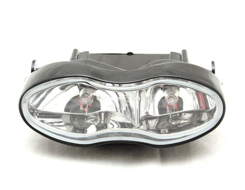 Streetfighter Motorcycle Twin Headlight 55w Black With Clear Lens