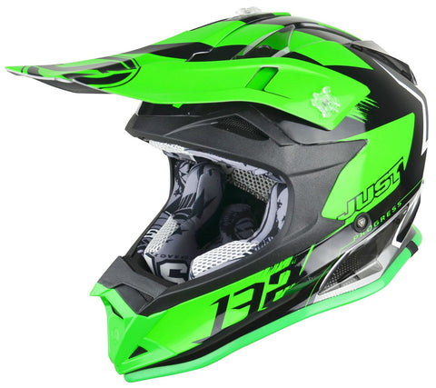 Just1 J32 Rave Motocross Helmet Neon Green Gold ACU