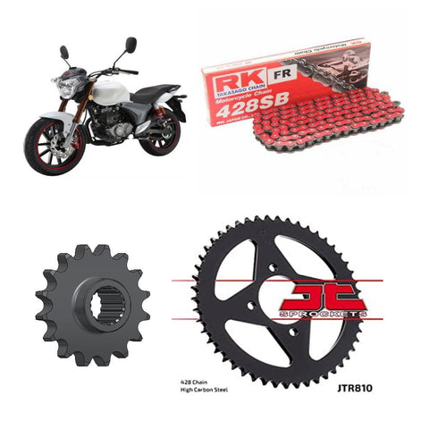KSR-Moto Code 125 Chain and Sprocket Kit Red RK Racing 2014-2019