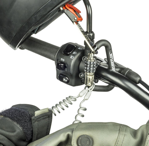 Helmetlok : Key Free Motorcycle Helmet Combination Lock With Free T-Bar & Steel Cable