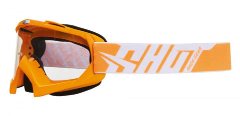 Shot Creed Neon Orange Motocross MX Goggles Clear Lens