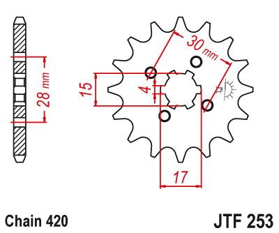 JT Front Sprocket JTF253.13 for Honda C50 C90 Z50 MSX125