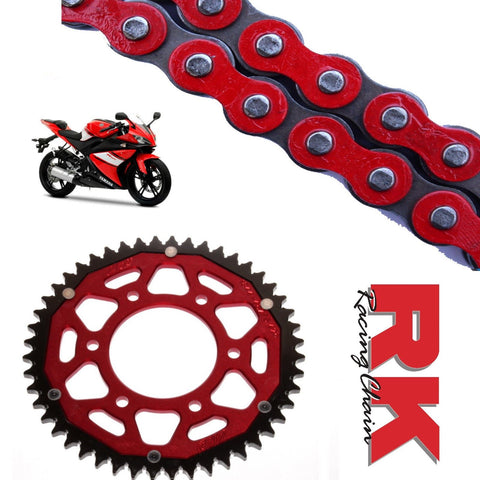 Yamaha YZF-R125 Chain and Sprocket Kit Red RK Racing Red ZF Rear Sprocket