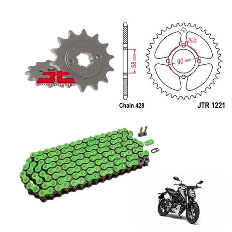 Honda CB125 R Chain and Sprocket Kit Green RK Racing JT Sprockets 2018-