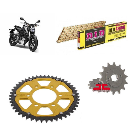 Honda CB125 R Chain and Sprocket Kit Gold DID Gold ZF Rear Sprocket